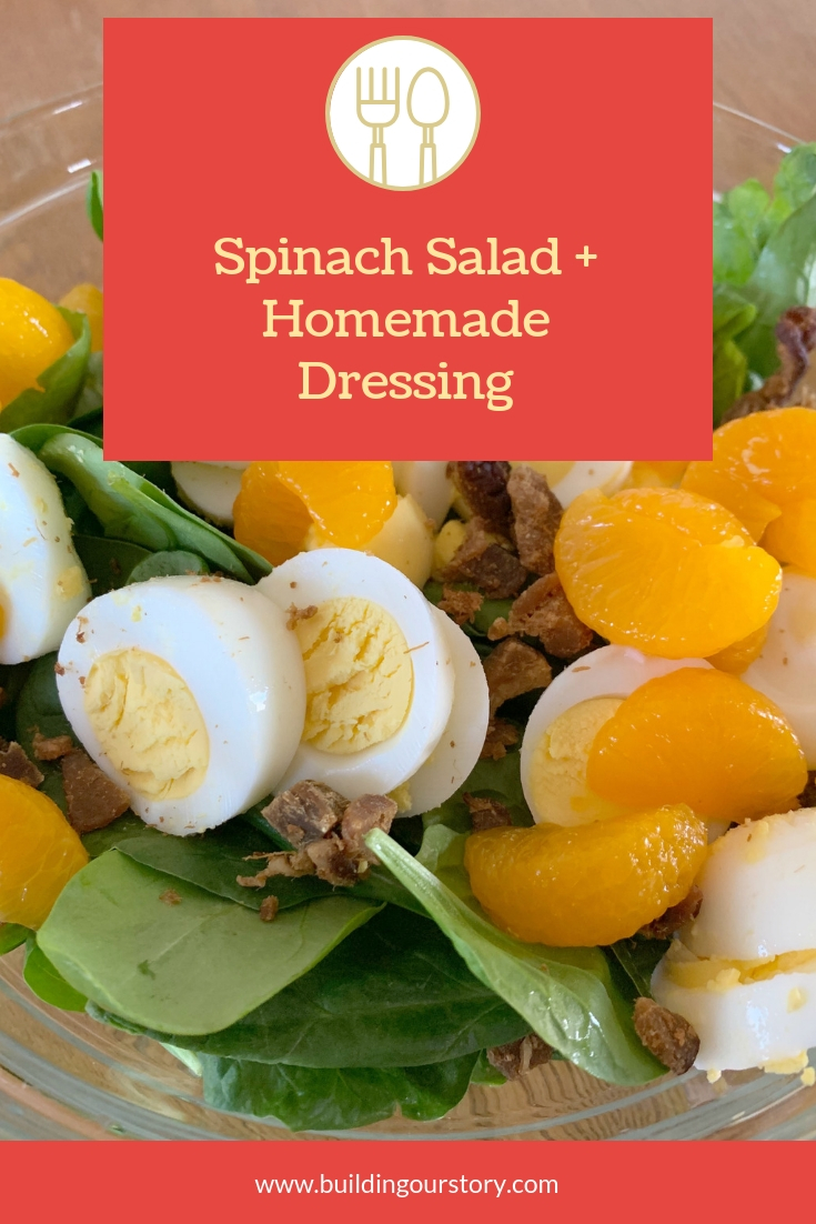 spinach salad recipe, spinach salad, salads using spinach, easy spinach salad recipe, homemade salad dressing, make your own salad dressing, salad dressing recipes, french dressing recipes, how to make your own french dressing, colorful salad recipes, side dishes for a large party, large side dishes, homemade dressing