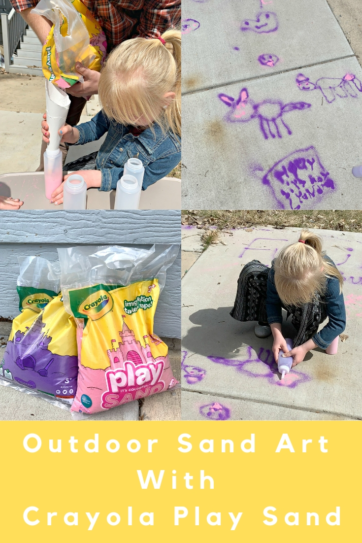 how to do outdoor sand art, using colored sand outside, crayola sand art, sand art, art outside, sidewalk art, fun summer activities for kids