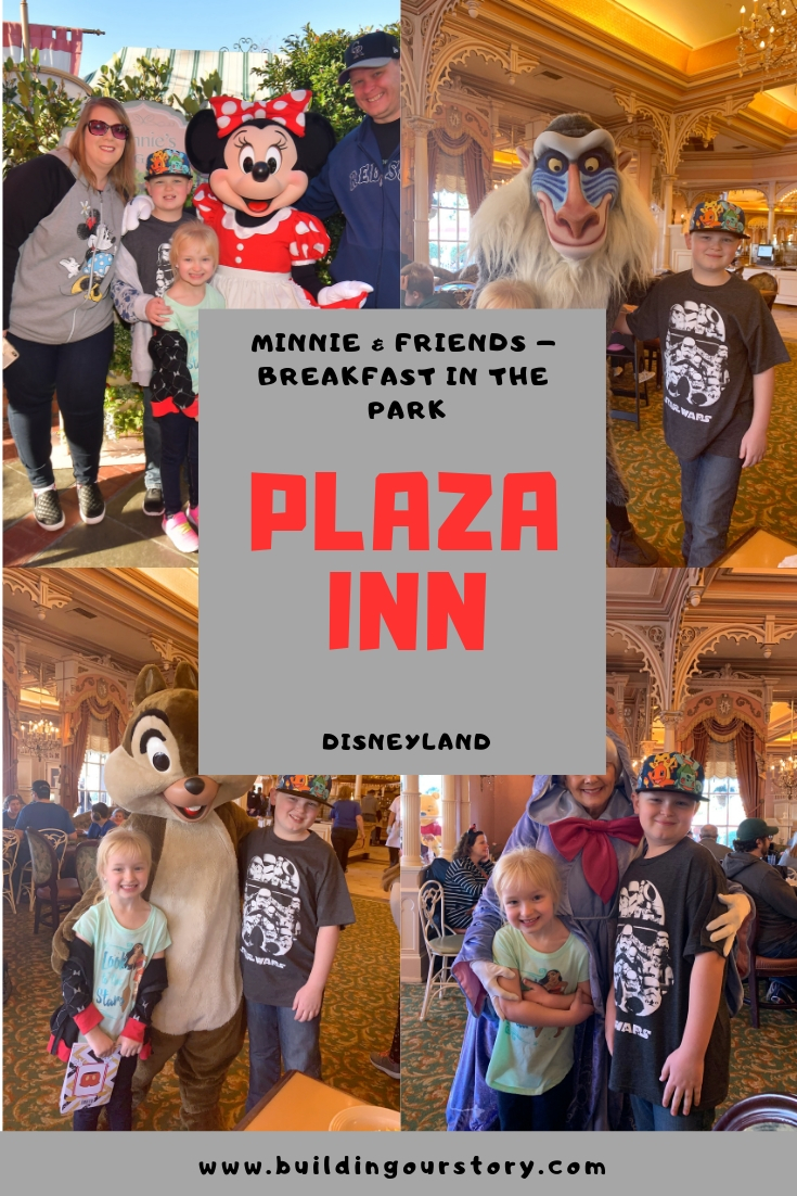 Plaza Inn Minnie & Friends, character breakfast at Disneyland, Plaza Inn character breakfast, character breakfasts at Disneyland, Character breakfast at Plaza Inn, Which character breakfast should we go to, planning a trip to Disneyland, Disney character breakfast tips,