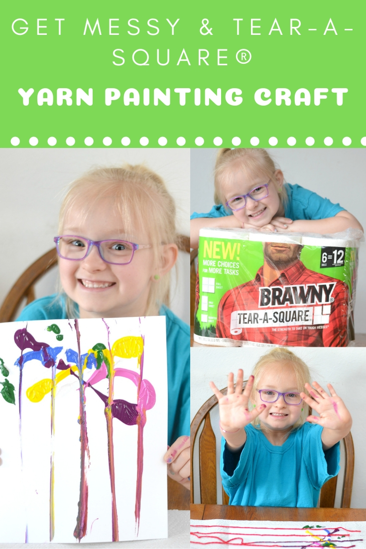 #PutASquareThere #ad Create beautiful painted art using yarn. Yarn Painting Craft for kids - get messy and Tear-A-Square®. Kids will love getting creative using yarn and paint.