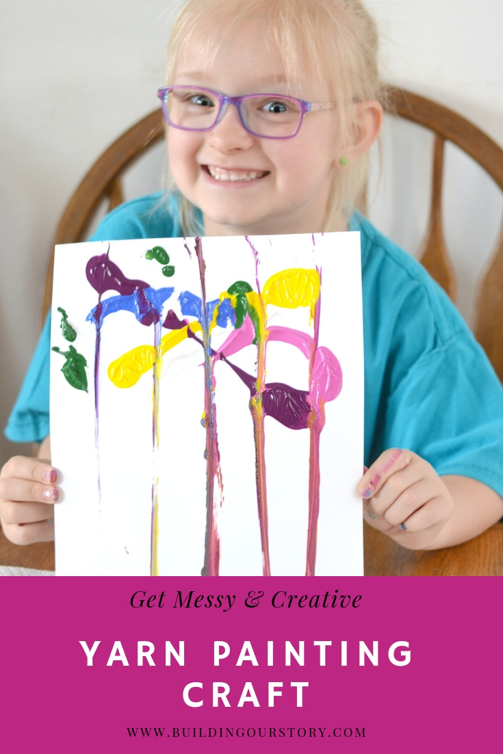 Create beautiful painted art using yarn. Yarn Painting Craft for kids - get messy and Tear-A-Square®. Kids will love getting creative using yarn and paint. Yarn painting craft, using yarn to paint, yarn painting craft for kids.