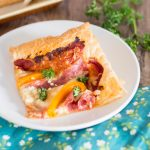 Puff Pastry Pizza Topped With Peppers & Salami