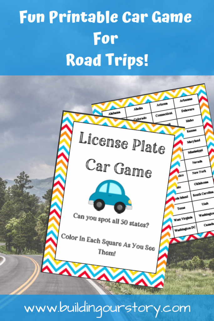 Printable Car Game for Road Trips - License Plate Car Game