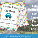 Printable License Plate Car Game