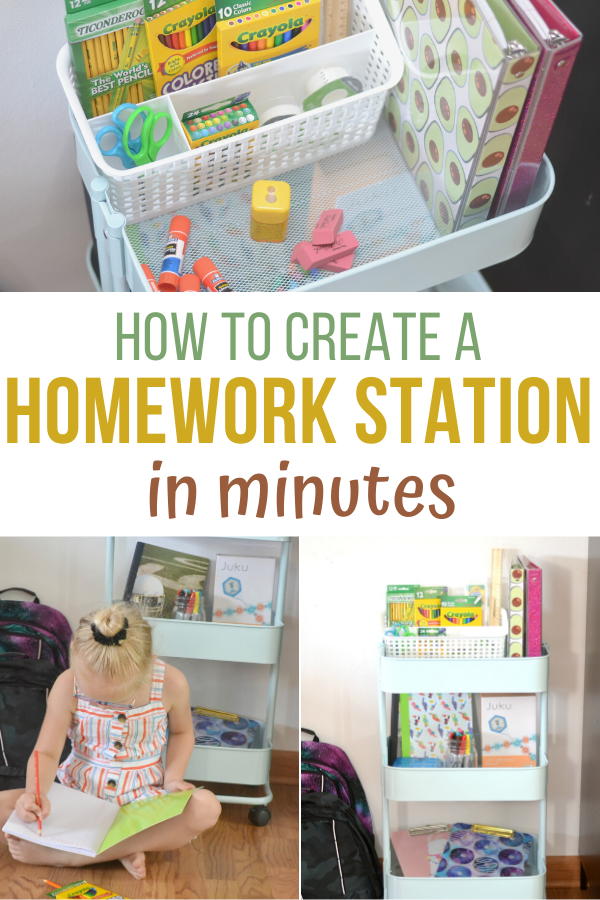 Create a Homework Station in minutes, homework station, homework area, create a homework area, rolling homework station, DIY homework station, creative homework station, small space homework station