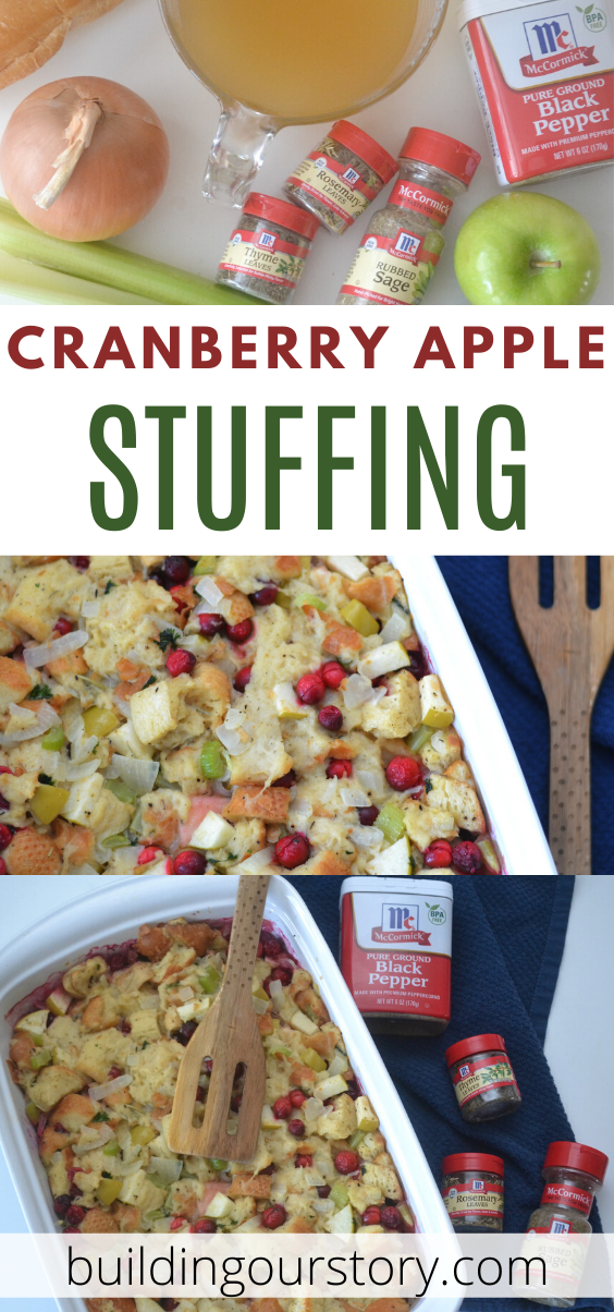 Cranberry Apple Stuffing recipe, This Cranberry Apple Stuffing recipe has all the classic flavor of your favorite old-fashioned Thanksgiving stuffing but with some added color and some sweet festive fruit.