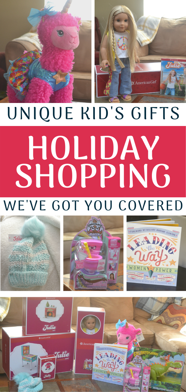 Holiday Shopping List - Unique Kid's Gifts #ad #Gifts4KidsBBoxx @buildabear @justiceofficial #jakkstoys #chocolatepoopmaker #gigantosaurustoys @jakkstoys @Babbleboxx