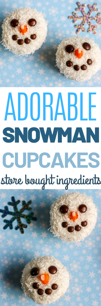 Snowman cupcakes, how to make snowman cupcakes, easy snowman cupcakes, These precious Snowman Cupcakes are made using a store bought cake mix, frosting and a handful of candy. Easy, creative and festive for the holidays!