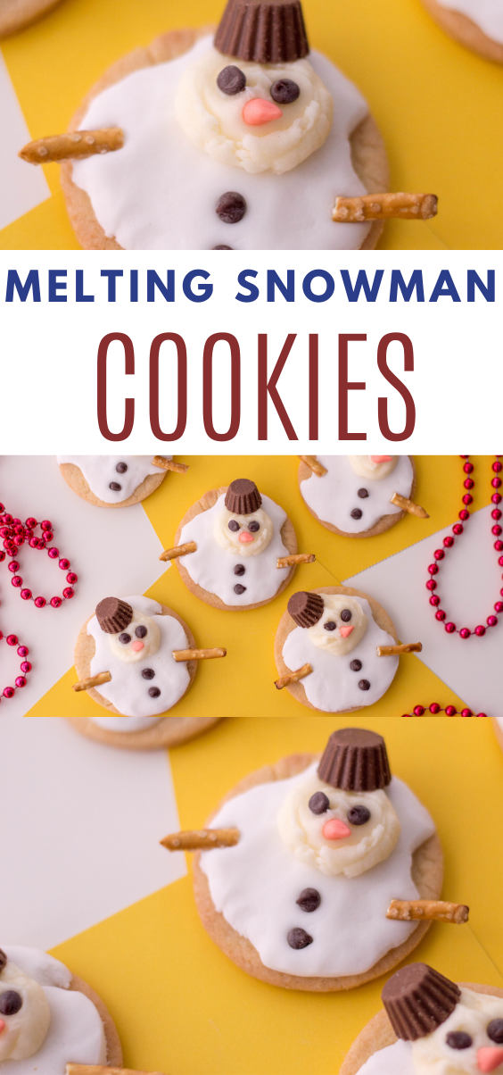 Melting Snowman Cookies.  Creative holiday cookies.  Creative cookies.  Snowman cookies.  winter cookies.  Cookies for Christmas.  Snowman treats.