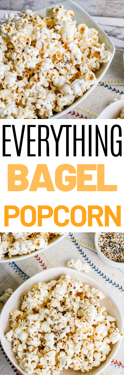 Everything Bagel Popcorn, everything bagel seasoning, This Everything Bagel Popcorn recipe is delicious hot, buttery popcorn topped with everything bagel season! A popcorn snack perfect for movie night, game day, or every day snacking!