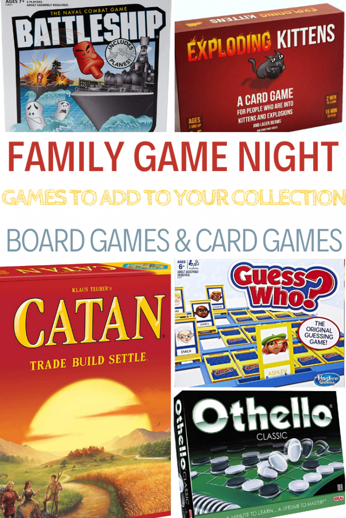 Game night, board games for kids, great games for kids, family game night ideas, games to add to your collection, board games, 50 board games to add to your collection, board games and card games, plan a family game night