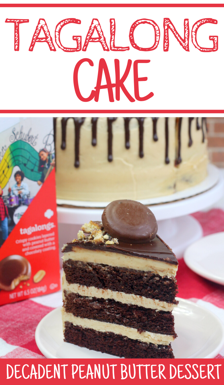 A Decadent Tagalong Cake Recipe, girl scout cookie inspired recipes, tagalong cake recipe, tagalong cake, recipes using tagalong, homemade cake recipe, cake recipe, peanut butter cake, cake recipe