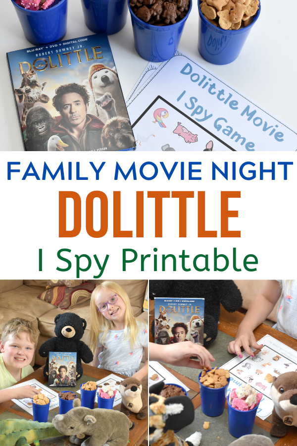 Family Movie Night Ideas, Dolittle Movie Night Ideas, Dolittle themed treats, Dolittle I Spy Game Printable, Dolittle DVD, Dolittle movie party, Dolittle movie,#DolittleAtWalmart #Pmedia #ad