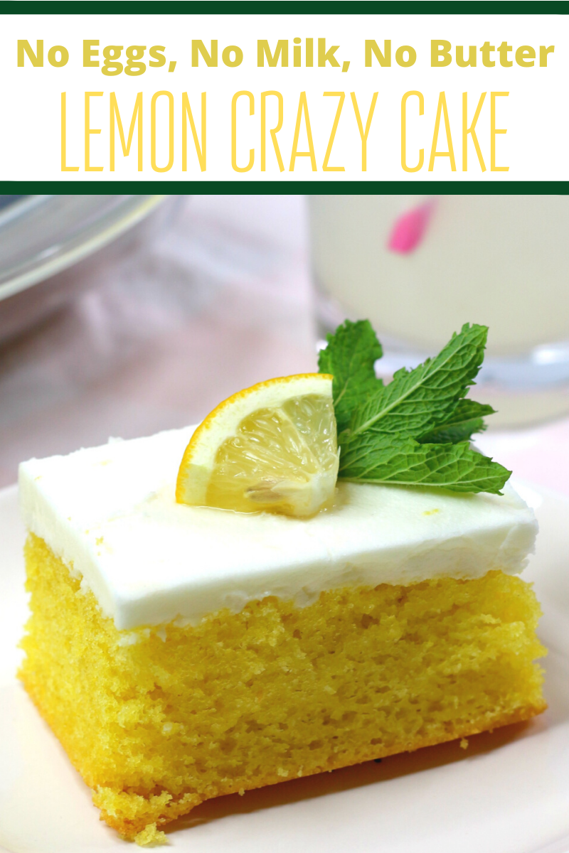 Lemon Crazy Cake is an easy cake recipe that dates back to the Depression era. This lemon dessert recipe doesn't call for any eggs, milk, or butter! Lemon Crazy/Wacky Cake (also know as Depression Cake) No Eggs, Milk, Butter or Bowls! Super Moist & Good! Fun activity to do with kids! Great go-to recipe(s) for egg/dairy allergies. #crazycakes