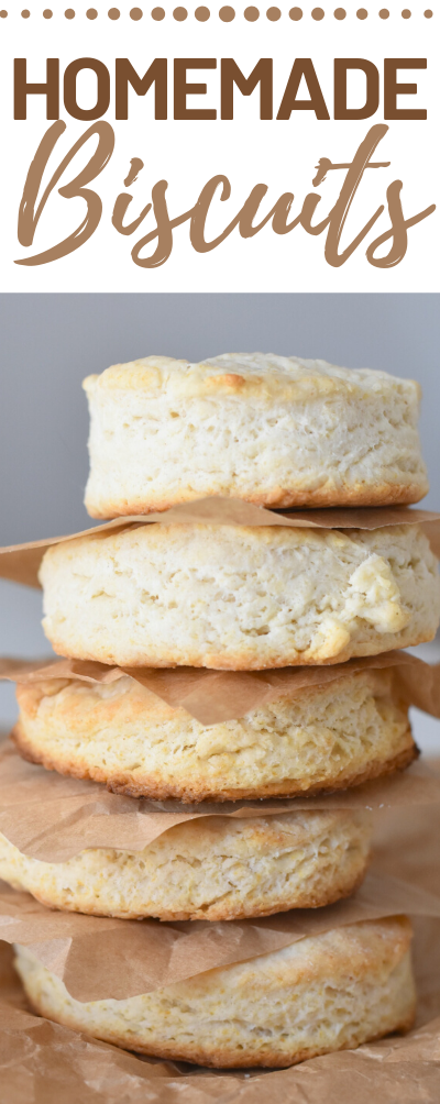 Delicious and flaky Homemade Biscuits in less than 30 minutes.  Easy homemade biscuits, homemade biscuits, biscuit recipe, easy biscuit recipe, flaky biscuit recipe, how to make biscuits at home
