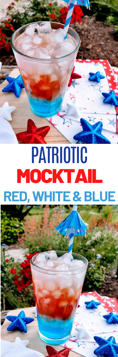 Red, White and Blue Patriotic Mocktail, 4th of July Mocktail, Mocktail for summer, Mocktail summer drinks, Patriotic Mocktail, Patriotic drinks, summer party drinks