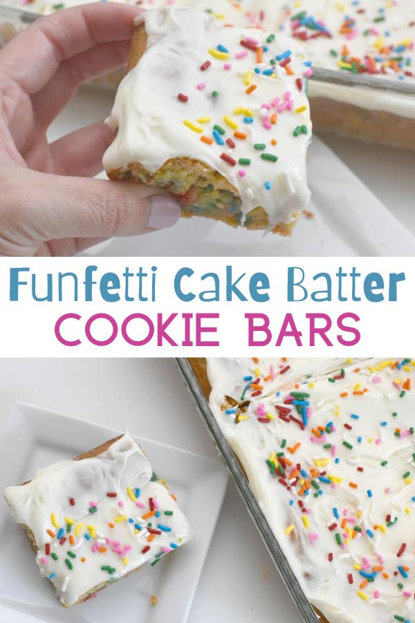 Funfetti Cake Batter Cookie Bars, Funfetti Cake Batter Cookie Bars recipe, Recipes using cake mix, recipes using sugar cookie mix, cookie bars, sugar cookie bars, funfetti cookies, easy desserts,