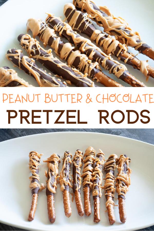Reese's Pretzels - Peanut Butter & Chocolate Pretzel Rods. chocolate covered pretzels. peanut butter and chocolate pretzels. Reese's Peanut Butter Pretzels. Easy desserts. Chocolate dipped pretzels.