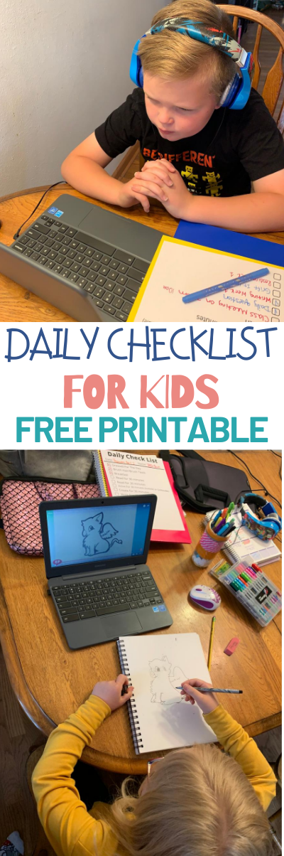 Daily Checklist For Kids - Free Printable. Free printable checklist for kids. remote learning printables. simple printables for kids. simple daily checklist for kids. free printables . How to stay on task when remote learning.
