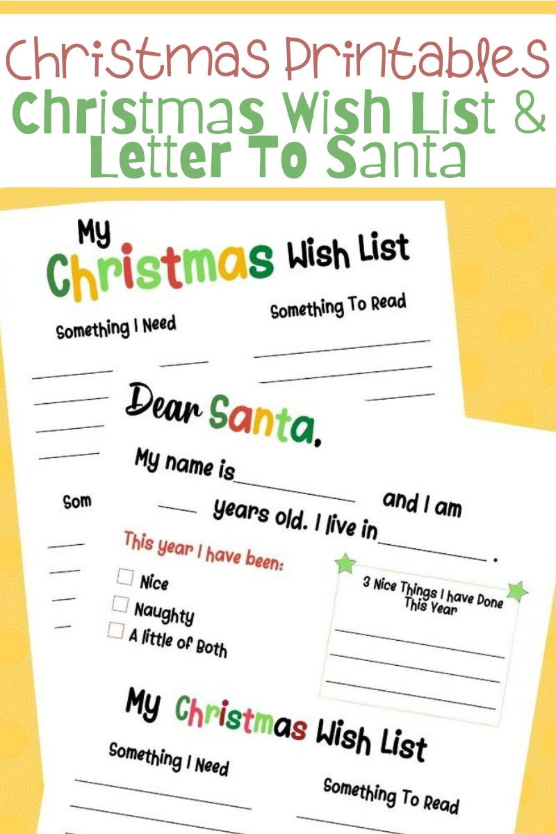 Christmas Wish List & Letter To Santa PRINTABLES. Free Christmas printables. Free printable letter to santa. Santa letter printable. Wish list printable. Printabls for kids. Christmas printables for kids. My Christmas Wish List printable. Dear Santa printable.