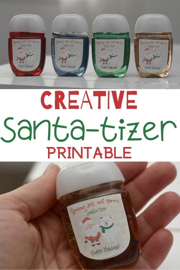Spread Joy - Not Germs! Santa-tizer Printable DIY holiday gift. Free hand sanitizer holiday printable. Hand sanitizer gifts. Creative Santa-tizer Printable. Printable for hand sanitizer. Gifts for kids. Gifts to hand out at school. Free printable for holiday gifts.