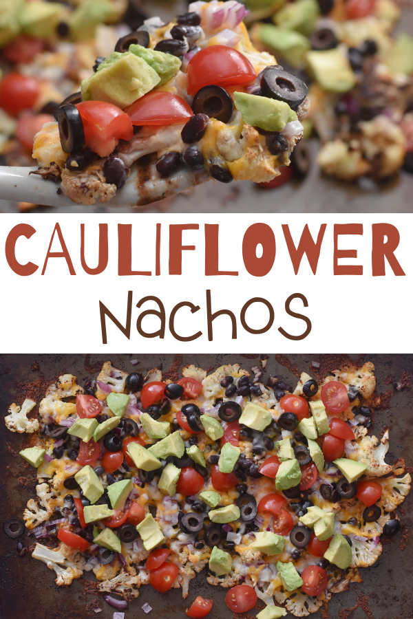 Loaded Cauliflower Nachos. Cauliflower Nachos. These Cauliflower Nachos are an easy way to serve low carb nachos by swapping out cauliflower slices for chips. Seasoned roasted cauliflower loaded with cheese, tomatoes, red onion, and avocado. healthier recipes using cauliflower. Sheet Pan Cauliflower Nachos. #cauliflowernachos #lowcarb #glutenfree #cauliflower #nachos #healthy #appetizer