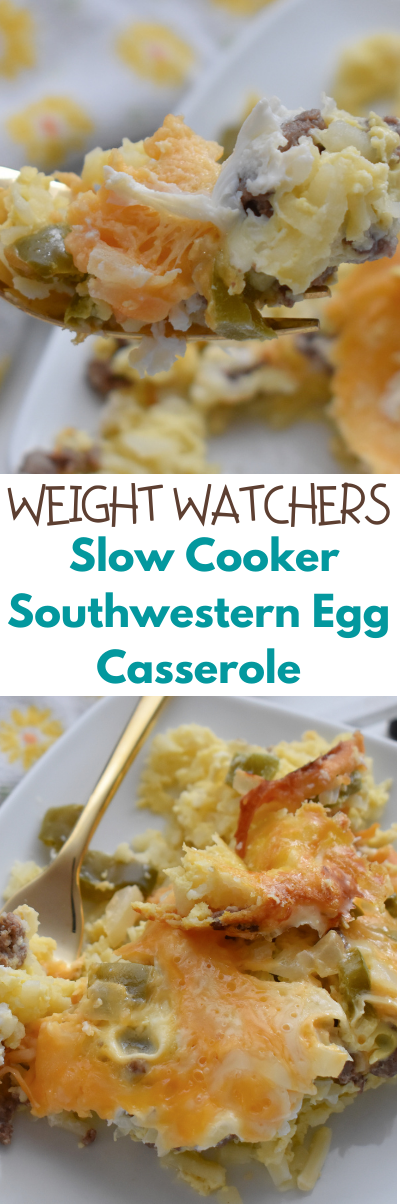 This Weight Watchers Slow Cooker Southwestern Egg Casserole is an easy-to-make recipe! It freezes well, perfect for any meal and makes for great leftovers. WW recipes.  WW slow cooker recipes. WW breakfast recipes.  WW crock pot recipes.  Crock pot breakfast recipes.  Breakfast casseroles.  Weight watchers recipes.  Weight Watchers breakfast recipes.  Weight Watchers slow cooker recipes.  Healthy breakfast casseroles.  Healthy recipes using eggs.