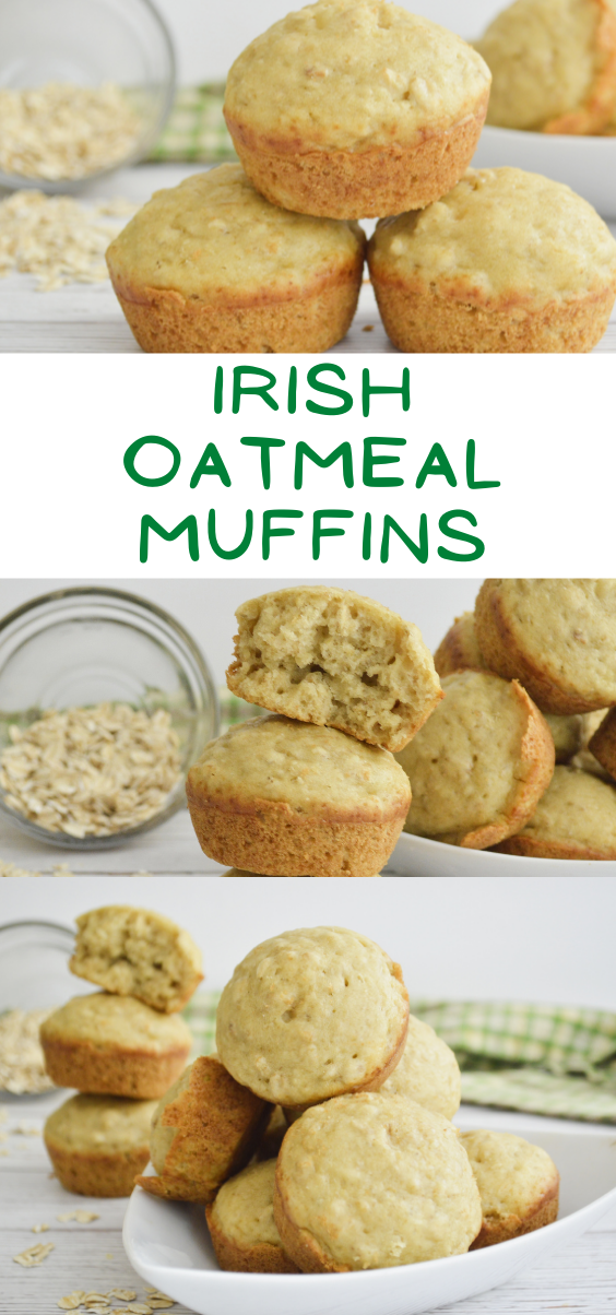 Looking for a hearty, healthy and delicious muffin recipe?  You will love these yummy Irish Oatmeal Muffins.  Irish Oatmeal Muffin recipe. Irish Oatmeal Muffin. Easy muffin recipes. Oatmeal muffins. Irish Oatmeal muffins recipe.